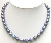 "SALE Big 9-10mm NATURAL Black Rice frwshwater PEARL 17"" NECKLACE-nec5350"