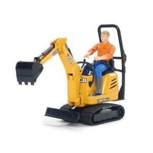 Bruder World JCB Micro Excavator Vehicle w/ Construction Worker Kids Toys 4y+