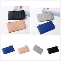 Faux Leather Soft Wallet Coins Pocket Credit Card Holder Purse with Zipper S