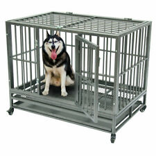 "Us 42"" Steel Heavy Duty Dog Cage Crate Kennel Steel Pet Playpen W/ Wheels Tray"