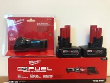 "Milwaukee 2557‑20 M12 Fuel 12v Li‑ion 3/8"" Ratchet + (2) 4.0AH Batteries + BOOT"