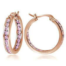 Rose Gold Flash 925Silver Pink CZ Inside Out Channel-Set 20mm Hoop Earrings