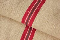 Vintage GRAIN SACK feedsack European red and GREEN stripe Christmas bag ~