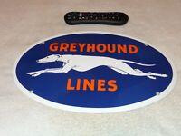 """VINTAGE GREYHOUND LINES 16.5"""""""" PORCELAIN METAL BUS STATION GASOLINE OIL SIGN DOG"""
