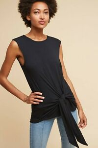 Anthropologie Black Dayla Tie Front Tunic Top M NEW
