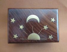 """3"""" x 2"""" Wooden Box - Carved Top - Celestial Design Brass Inlay"""