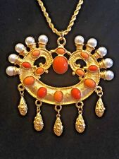 Kenneth Lane Faux Coral and Pearl Necklace