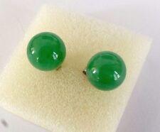 Bola verde jade chino pendientes perforados Fiesta Boda Cumpleaños De Hombre Mujer F5