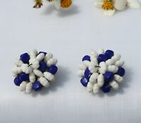 CLIP ON EARRINGS, vintage flower blue beads white