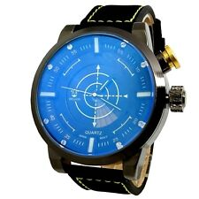 "MONTRE HOMME IRONSIDE "" CIBLE "" NOIR VERRE BLEU GOLD RADAR AGENT ONLY THE BRAVE"
