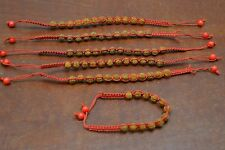 6 PCS RED BRAIDED HANDWOVEN RUDRAKSH JAPA MALA ROSARY BRACELET BAND 7MM #B-16