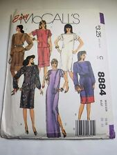 MCCALLS 8884. VTG 1984, MISSES DRESS, TOP, SKIRT, SASH. SIZE 16-18, UNCUT