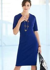 Colbalt Blue Fitted V Neck Bodycon Dress Size 8 NEW