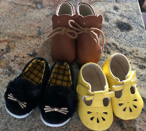 Baby Girl Shoes Lot of 4 Size 3 Slip On Sneakers, Velcr &Tie Dress Shoes & Boots