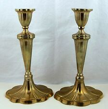 "Brass Candlesticks Candle Holders 10"" Scalloped Oval Base Set of 2"