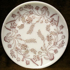 """Vintage FEDERAL 9 7/8"""" Coupe Dinner Plate WHITE MILK GLASS Red Brown Gold Floral"""