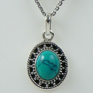 Fine Silver Handmade Pendant Necklace Turquoise Gemstone Female Jewelry FSP-1045