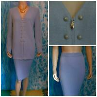 St. John Knits Collection Blue Jacket Skirt L 12 10 2pc Suit Gold Buttons Zipper