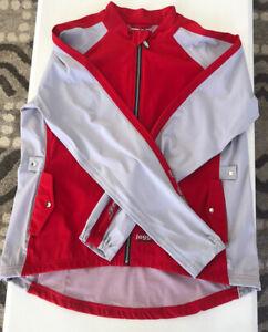 Jaggad Men's Large Red/Gray Cycling Bike Jacket Windbreaker Full Zip Bicycle