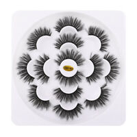 7 Pair 3D Natural Bushy Cross Long False Eyelashes Mink Hair Eye Lashes Black