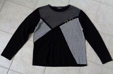 JENNY BLACK & GRAY SWEATER WITH BUCKLE DESIGN APPROXIMATE SIZE S/M