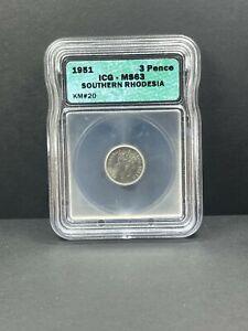 1951 Southern Rhodesia 3 Three Pence, ICG MS 63, Zimbabwe