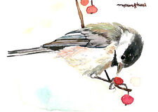 ACEO Limited Edition- To a chickadee, Bird art print, Collectible art, Gift idea