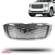 Fits 2015-2020 Gmc Yukon Xl Denali Style Front Upper Grille Abs Full Chrome (Fits: Gmc)