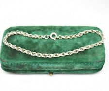 Vintage Sterling Silver Bracelet plain chain Stylish 7 inch Art deco gift #O881
