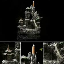 Incense Burner Ceramic Mountain Waterfall Smoke Backflow Cones Holder w/7 Cones
