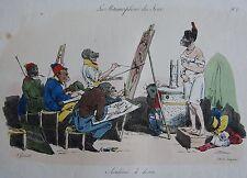 GRANDVILLE : Les métamorphoses du jour. N°17. « Academie de dessin « . Lith. Lan