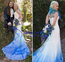 Colorful Appliques Sweetheart Wedding Dress Mermaid Bridal Gown 4 6 8 10 12 14++