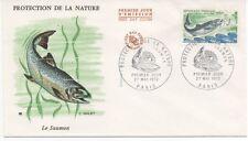 FRANCE 1972.F.D.C. PROTECTION DE LA NATURE.LE SAUMON.OBLIT:LE 27/5/72 PARIS