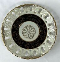 """Small Vintage Ivory Iridescent Reticulated Display Collector Plate 6"""" Leaf"""