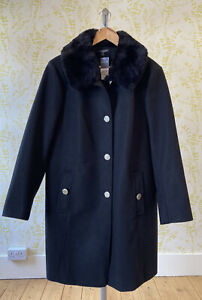 *BNWT* BONMARCHE black winter coat UK 20 detachable faux fur collar RRP £50
