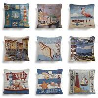 "Tapestry Cushion Covers Seaside Beach Nautical Vintage Throw Cushions 18"" x 18"""