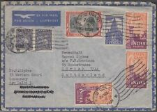 INDIA 1951 7 VALUES + 1957 13 VALS ON AIRMAIL COVER TO SWITZERLAND
