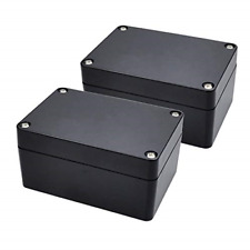 Pinfox 2 Pack Black Waterproof Plastic Project Box Abs Ip65 Electronic Junction