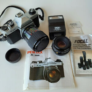 Asahi PENTAX K1000 35mm FILM SLR Camera Bundle - 2 Lenses Flash Case Book
