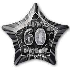 """60TH BIRTHDAY CELEBRATIONS""    60th Glitz Black&Silver 20"" Foil Balloon!"