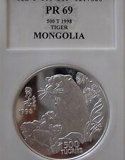 1998 Mongolia Year of the Tiger - .999 Silver Coin of a TIGER 1Oz-PR69--RAR