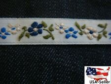 20 yards off white sage blue floral Jacquard ribbon trim 7/16 w SHIP FROM USA