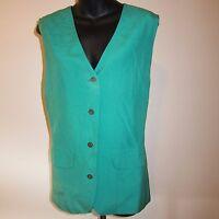 Vtg Talbots Sz 12 Persian Green Silk Vest Long V Neck Buttoned New Old Stock Tag