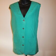 Vtg Talbots Sz 12 Persian Green Silk Vest Long V Neck Buttoned New Old Stock Tag