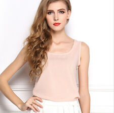 Fashion Women Cute Korean Blouse Slim Sleeveless Shirt Chiffon Casual Vest Tops