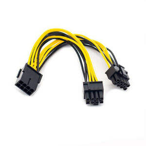 Male Power Adapter Splitter Cable for Graphics Card BTC Miner 9-inch 8Pin PCIe PCI Express Graphics Video Card GPU CPU to GPU,23cm 2 Pack 6+2 zdyCGTime CPU 8 Pin Female to Dual PCIe 2X 8 Pin