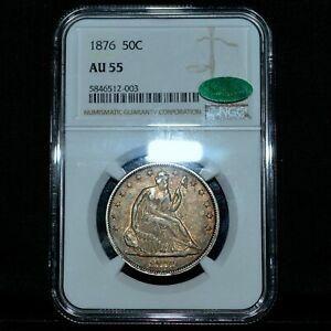 1876-P SEATED LIBERTY HALF DOLLAR ✪ NGC AU-55 CAC ✪ 50C SILVER ABOUT ◢TRUSTED◣