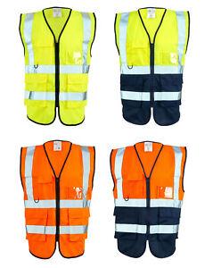 Supertouch Hi Vis Visibility Executive Vest Two Tone Safety Vest | Waistcoat
