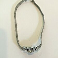 Vintage Swarovski Crystals Heart Necklace Silver Weave Jewelry Rope