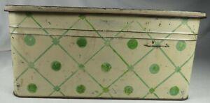 Vintage Antique 1930s Kitchen Green & Cream Polkadot Tin Metal Bread Box